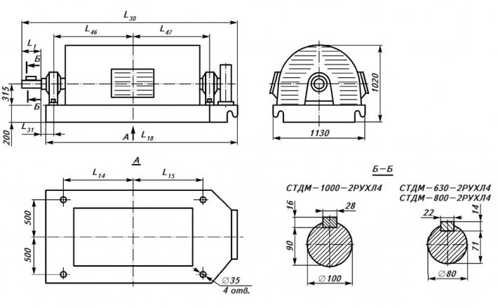 размеры электродвигателя СТДМ мощностью 630-1000 кВт, с замкнутым циклом вентиляции